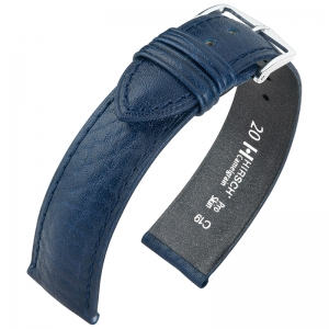 Hirsch Camelgrain Uhrenarmband Pro Skin Antiallergisch Blau