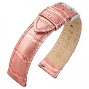 Hirsch Duke Uhrenarmband Alligatorgrain Metallic Rosa Limited Edition