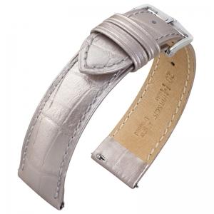 Hirsch Duke Uhrenarmband Alligatorgrain Metallic Silber Limited Edition
