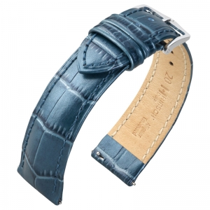 Hirsch Duke Uhrenarmband Alligatorgrain Metallic Blau Limited Edition