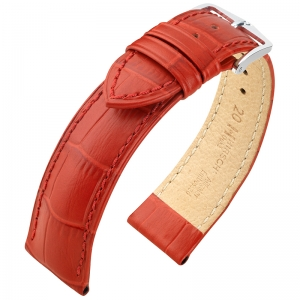 Hirsch Duke Uhrenarmband Alligatorgrain Rot