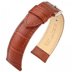 Hirsch Duke Uhrenarmband Alligatorgrain Goldbraun