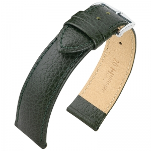 Hirsch Kansas Uhrenarmband Kalbsleder Büffelstruktur Grün
