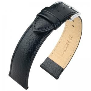 Hirsch Kansas Uhrenarmband Kalbsleder Büffelstruktur Schwarz