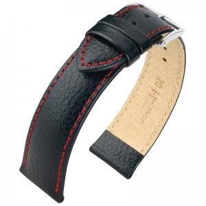 Hirsch Kansas Uhrenarmband Kalbsleder Büffelstruktur Schwarz mit Roter Naht