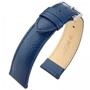 Hirsch Kansas Uhrenarmband Kalbsleder Büffelstruktur Blau