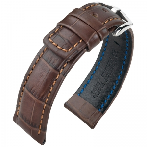 Hirsch Grand Duke Uhrenarmband 100m Alligator Relief Braun