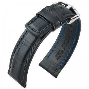 Hirsch Grand Duke Uhrenarmband 100m Alligator Relief Schwarz