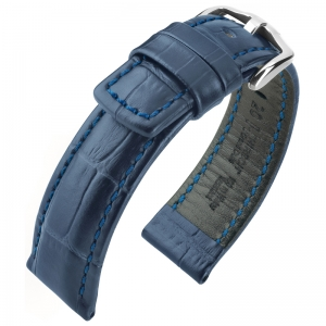 Hirsch Grand Duke Uhrenarmband 100m Alligator Relief Blau
