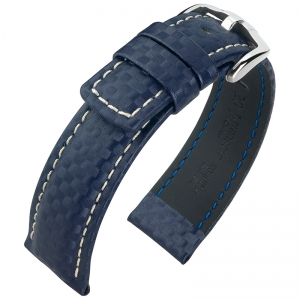 Hirsch Carbon Uhrenarmband 100 m Water-Resistant Blau