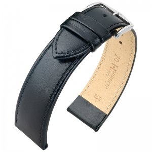 Hirsch Osiris Uhrenarmband Rindbox Leder Schwarz