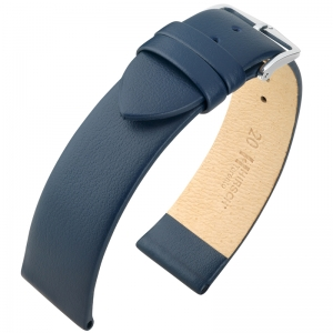 Hirsch Toronto Uhrenarmband Italienisches Kalbsleder Blau