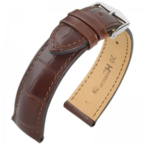 Hirsch Earl Louisiana Alligator Uhrenarmband Halb-Matt Braun