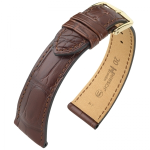 Hirsch London Louisiana Uhrenarmband Alligator Matt Braun