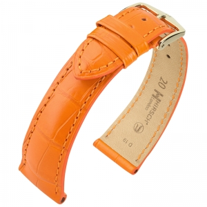 Hirsch London Louisiana Alligator Uhrenarmband Matt Orange