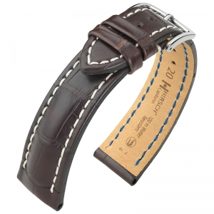 Hirsch Capitano Louisiana Alligator Uhrenarmband 100m WR Halb-Matt Braun