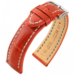 Hirsch Capitano Louisiana Alligator Uhrenarmband 100m WR Halb-Matt Rot