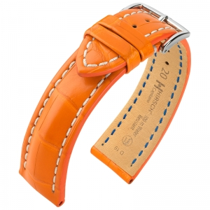 Hirsch Capitano Louisiana Alligator Uhrenarmband 100m WR Halb-Matt Orange
