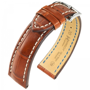 Hirsch Capitano Louisiana Alligator Uhrenarmband 100m WR Halb-Matt Goldbraun