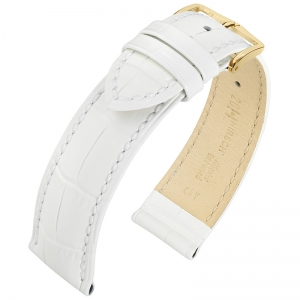 Hirsch Louisianalook Alligatorprint Uhrenarmband Weiss