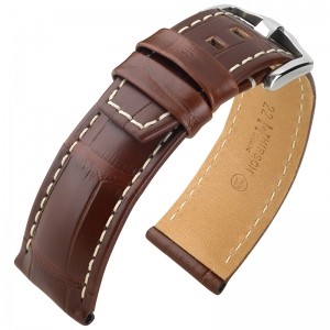 Hirsch Tritone Uhrenarmband Louisiana Alligator Halb-Matt Braun