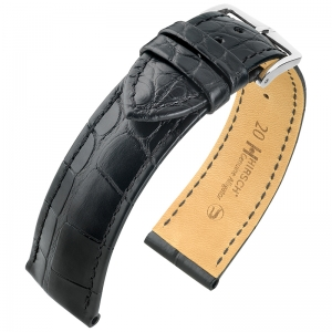 Hirsch Genuine Alligator Louisiana Uhrenarmband Alligatorleder Matt Schwarz