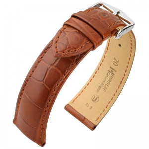 Hirsch Genuine Alligator Louisiana Uhrenarmband Alligatorleder Matt Goldbraun