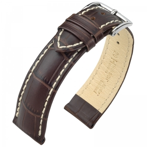 Hirsch Modena Uhrenarmband Alligatorgrain Braun