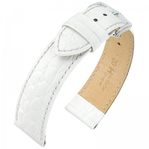 Hirsch Crocograin Uhrenarmband Weiss