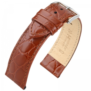 Hirsch Crocograin Uhrenarmband Goldbraun