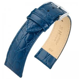 Hirsch Crocograin Uhrenarmband Blau