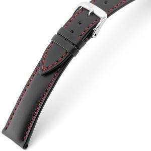 Rios Smart Uhrenarmband Rindsleder Schwarz mit Roter Naht