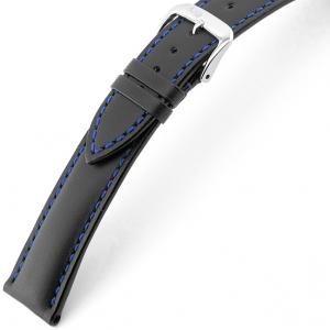 Rios Smart Uhrenarmband Rindsleder Schwarz mit Blauer Naht