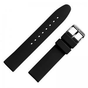 Gummi Uhrenarmband Schwarz Glatt 18mm