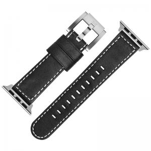 Marc Coblen Uhrenarmband für Apple Watch Schwarz mit weisser Naht