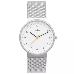 Braun BN0031WHSLMHL Uhrenarmband Mesh (Milainese) Silber