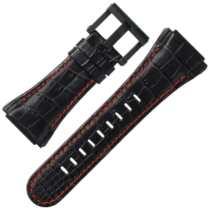 TW Steel Uhrenarmband CE4009 CE4017 CEO Tech 48mm - Schwarzes Leder Rote Naht 32mm