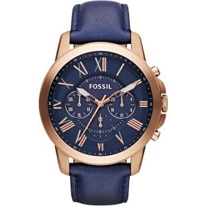Fossil FS4835 Uhrenarmband Leder Blau