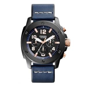 Fossil FS5066 Uhrenarmband Leder Blau
