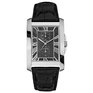 Guess Uhrenarmband W10213G1 - Schwarzes Leder mit Kroko-Struktur