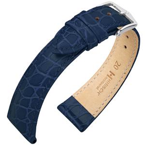 Hirsch Aristocrat Uhrenarmband Crocograin Blau