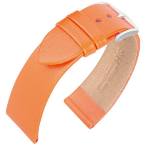 Hirsch Fashion Uhrenarmband Italienisches Nappa Kalbsleder Orange