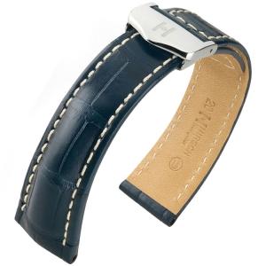 Hirsch Navigator Uhrenarmband für Breitling Faltschliesse Louisiana Alligator Matt Blau