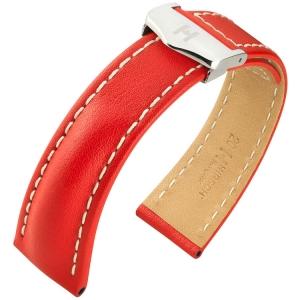 Hirsch Navigator Uhrenarmband für Breitling Faltschliesse Italienisches Kalbsleder Rot