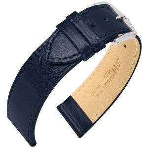 Hirsch Osiris Uhrenarmband Rindbox Leder Blau