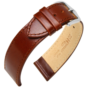 Hirsch Osiris Uhrenarmband Rindbox Leder Braun