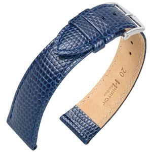 Hirsch Rainbow Uhrenarmband Lizardgrain Blau