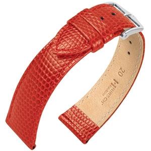 Hirsch Rainbow Uhrenarmband Lizardgrain Rot