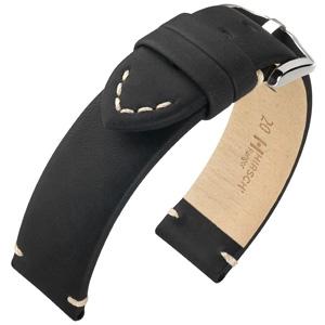 Hirsch Ranger Uhrenarmband Kalbsleder Schwarz
