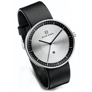Jacob Jensen Uhrenarmband Strata 270, 274 Leder Schwarz 20mm
